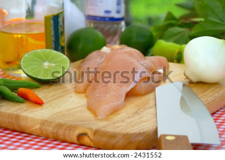 few pieces of chicken fillet ready for cooking - stock photo