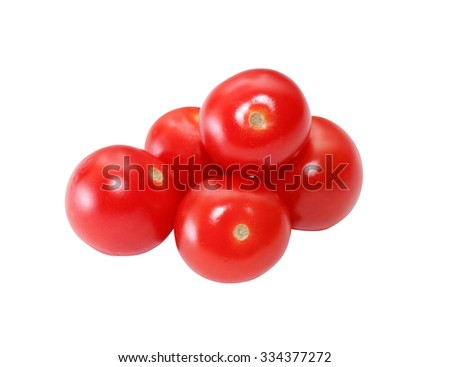 Few red tomatoes on white background. Isolated with clipping path