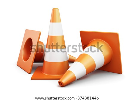 Few traffic cones on a white background. 3d render image.