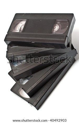 few video tape isolated on white - stock photo