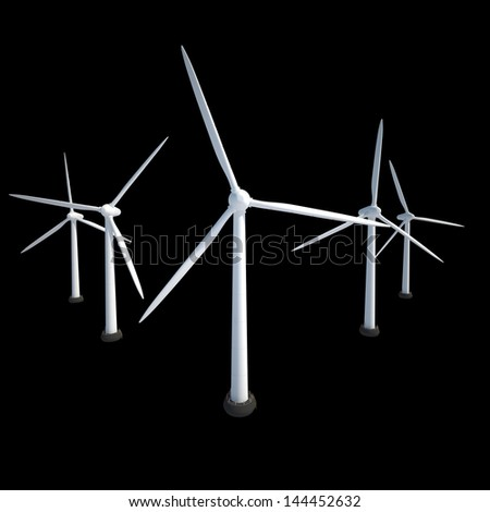 few wind power generator isolated on black