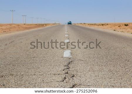 Feynan, Jordan - March 26,2015: Road in the desert of Jordan - stock photo