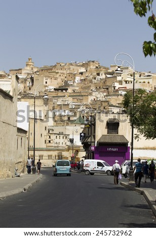 FEZ, MOROCCO - JULY 19: The medina as on July 19, 2014 in Fez, Morocco. The medina is listed as a UNESCO World Heritage Site and is believed to be one of the world's largest car-free urban areas. - stock photo
