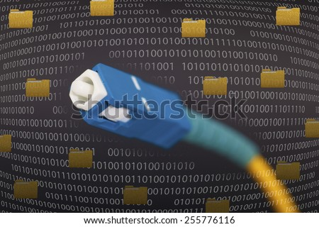 Fiber optic cable in black background - stock photo