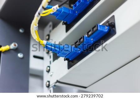 fiber optic cable install - stock photo