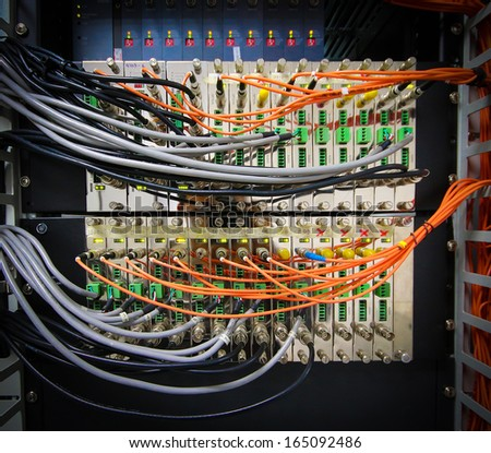 Fiber optic cable with cctv module - stock photo