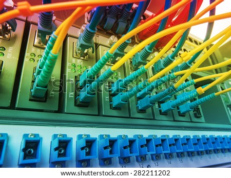 fiber optic cables. Data Network Hardware Concept. - stock photo