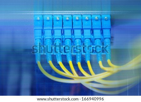 fiber optic communication and internet network server  - stock photo