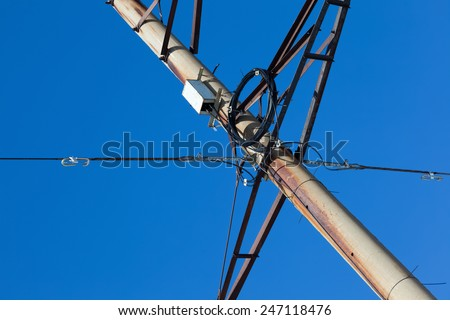 fiber-optic communications in power line and electricity. new technologies - stock photo