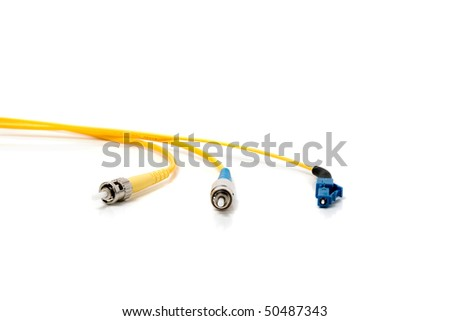Fiber optic connectors on the white background - stock photo