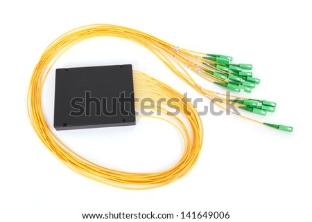 fiber optic coupler with SC connectors on white background - stock photo