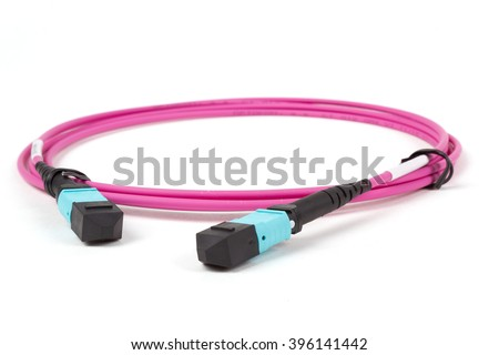 fiber optic MTP (MPO) connectors patchcord on white background - stock photo