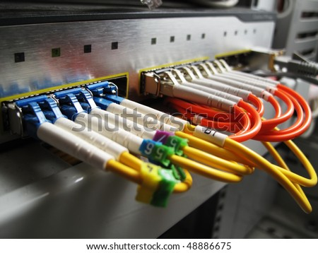 Fiber optic switch/router - stock photo