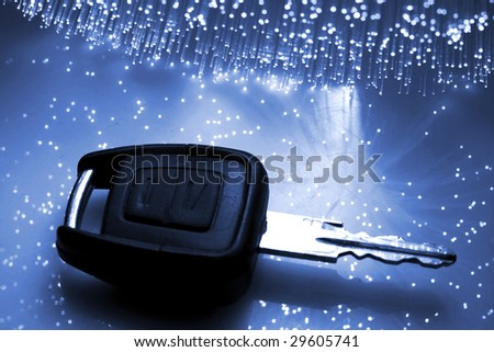 Fiber optical background with lots of light spots - stock photo