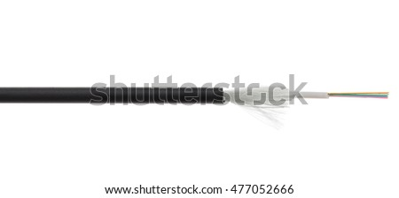 Fiber optical cable detail isolated on white background. Loose tubes with optical fibres and central strenght member including waterblocking glass yarn and ripcord, multimode or single mode