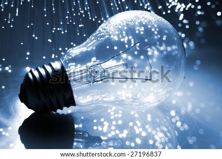 Fiber optics background with lots of light spots - stock photo