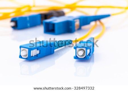 Fiber Optics connectors symbolic photo for fast internet connection ,Internet Service Provider equipment.broadband connection is  available everywhere. - stock photo
