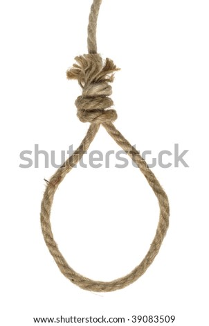 Fiber rope loop isolated over white background - stock photo