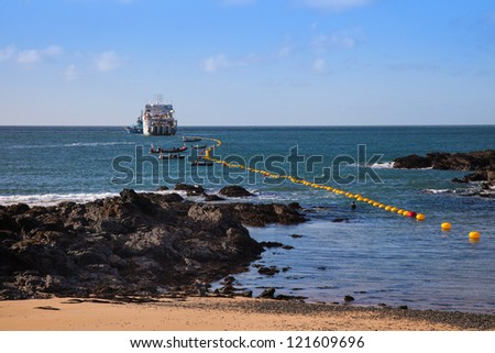 Fibre Optic cable coming ashore on the Isle of Anglesey Nortn Wales