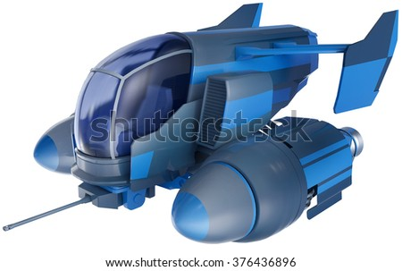 Fictional combat aerial vehicle isolated on white background - stock photo