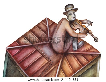Fiddler on the roof - stock photo