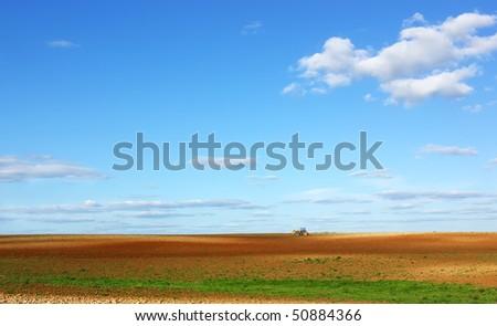 Field at Portugal, Alentejo region. - stock photo
