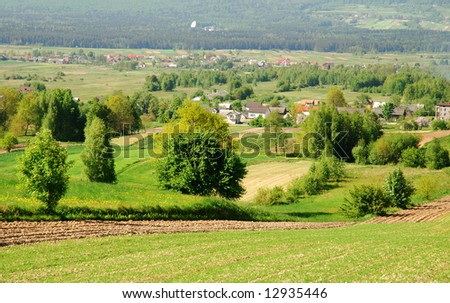 Field in spring time. Poland landscape