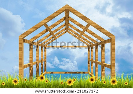 Field of green grass and sky with wooden home framework High resolution 3d  - stock photo