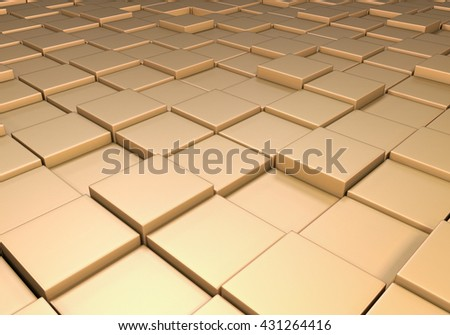 Field of reflective metallic gold tiles at different heights - stock photo