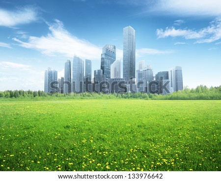 field of spring flowers and modern city - stock photo