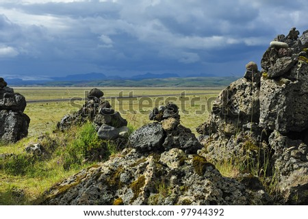 field of stone cairns at Laufscalavarda, Iceland