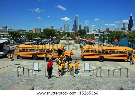 Field Trip for School Children in Chicago to the Adler Planetarium - stock photo