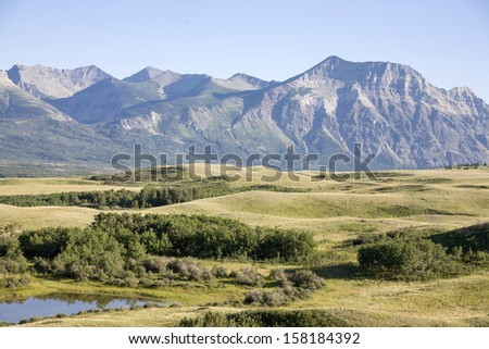Field view with mountain background - stock photo
