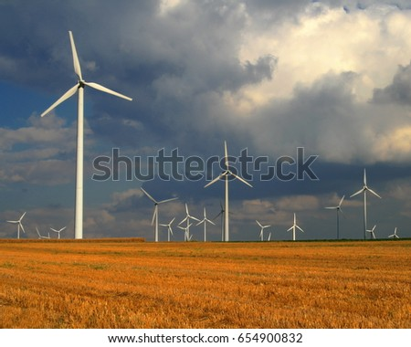 Field with wind turbines close to Weisweiler, Germany
