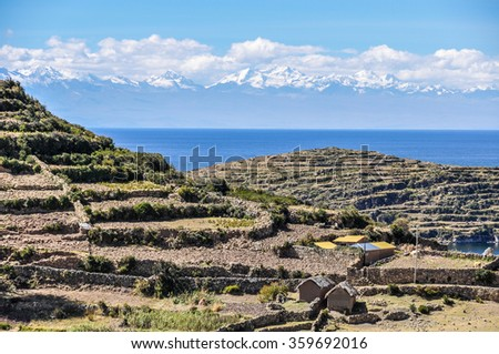 Fields on the Isla del Sol on the Lake Titicaca in Bolivia - stock photo