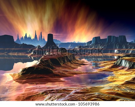 Fiery Aurora Over Another World - stock photo