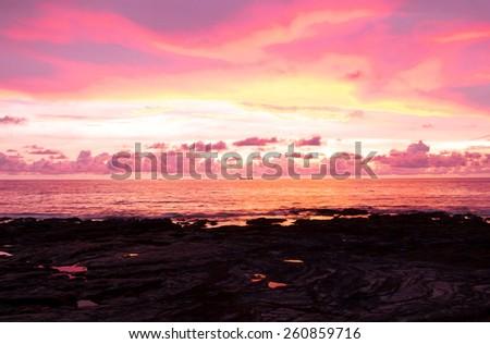 Fiery Backdrop Bay View  - stock photo