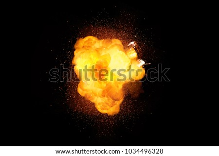 Fiery bomb explosion with sparks isolated on black background