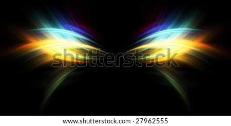 fiery butterfly, abstract background - stock photo