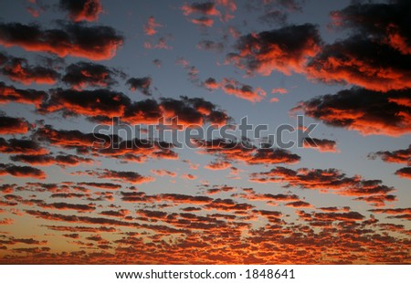 Fiery clouds at sunset in San Diego, California
