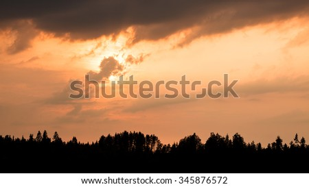 Fiery cloudy sunset and silhouette forest - stock photo