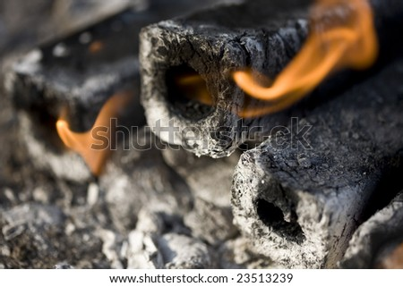 fiery coal bricks - stock photo