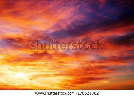 Fiery colorful sunset sky. Beautiful sky. Sky Background - stock photo