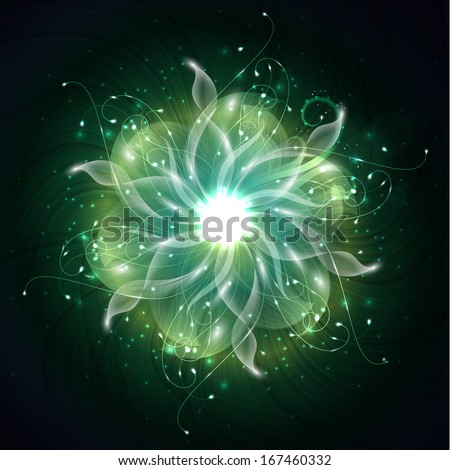 Fiery flower abstract background - stock photo