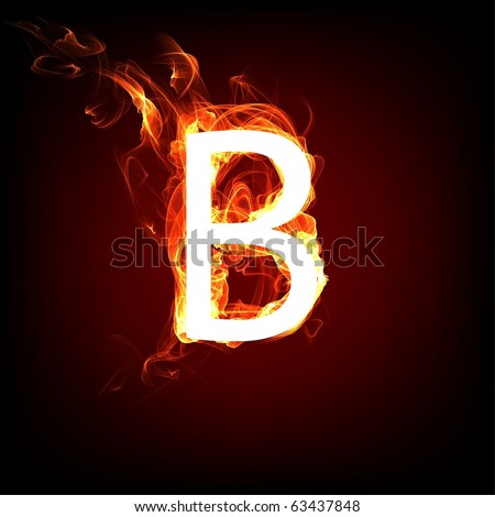 Fiery font for hot flame design. Letter B - stock photo