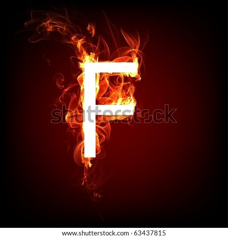 Fiery font for hot flame design. Letter F - stock photo