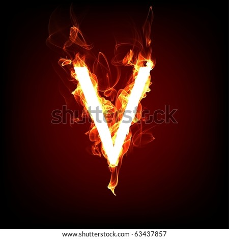 Fiery font for hot flame design. Letter V - stock photo