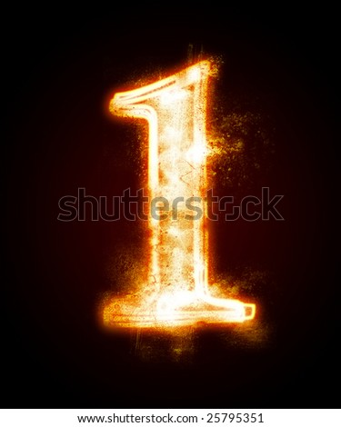 fiery font from a dust . number one - stock photo
