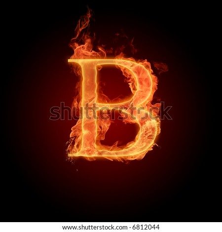 Fiery font. Letter B - stock photo