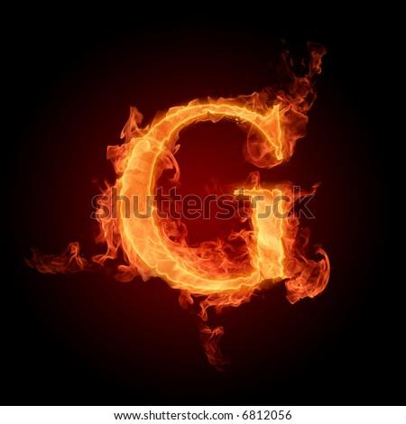 Fiery font. Letter G - stock photo